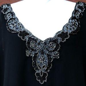 🔥 JKARA Beaded Asymmetrical V-neck Mini Dress